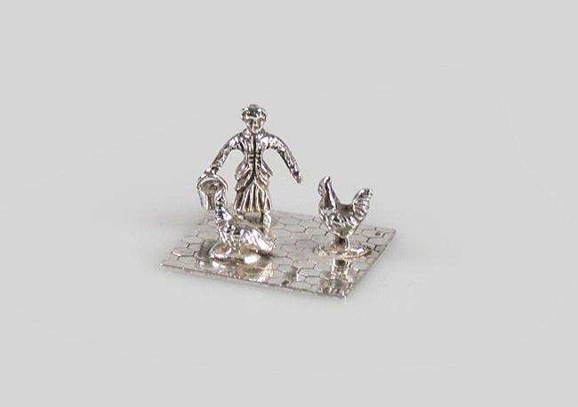 zilveren miniatuur vogelkooi